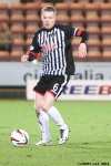 Lawrence Shankland frustrated at the delivery. Pars v Airdrieonians 18th January 2014.