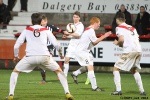 Jordan Moore has this effort on goal. Pars v Airdrieonians 18th January 2014.