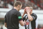 Josh Falkingham and Referee Steven McLean. Pars v Cowdenbeath 20th April 2013.
