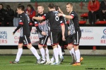 Pars v Arbroath 25th February 2014. Ross Forbes celebrates with his team-mates!