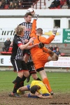 Pars v Stenhousemuir 8th March 2014. Callum Morris and Jonathon Page put pressure on Chris Smith.