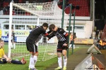 Pars v Arbroath 25th February 2014. Josh Falkingham celebrates with Faissal El Bakhtaoui!