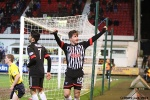 Pars v Arbroath 25th February 2014. Josh Falkingham acknowledges the home support.