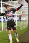 Pars v Arbroath 25th February 2014. Josh Falkingham celebrating wrapping the points up.
