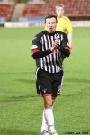 Pars v Arbroath 25th February 2014. Craig Dargo applauding the support.
