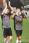 Pars v Arbroath 25th February 2014. Callum Morris and Danny Grainger applauding the home support.