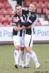Stephen Husband and Ryan Thomson celebrate the win. Pars v Cowdenbeath 20th April 2013.