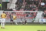 Pars v East Fife 22nd March 2014. Stephen Hughes sees this effort blocked by Alex Whittle.