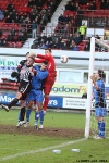 Pars v Stranraer 31st August 2013. Ryan Scully beats this effort away.