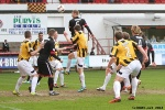 Pars v East Fife 22nd March 2014. Andy Geggan beats Lewis Barr to this header.