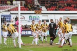 Pars v East Fife 22nd March 2014. Ball is cleared off the line by Liam Buchanan!