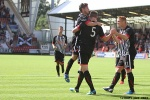 Pars v Arbroath 17th August 2013. Callum Morris celebrates with Josh Falkingham and Ryan Thomson!