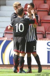 Pars v Arbroath 17th August 2013. Shaun Byrne celebrates with Josh Falkingham.