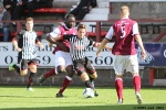 Pars v Arbroath 17th August 2013. Josh Falkingham v David Banjo.