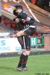 Pars v Ayr United 22nd February 2014.  Lawrence Shankland celebrates with Faissal El Bakhtaoui!