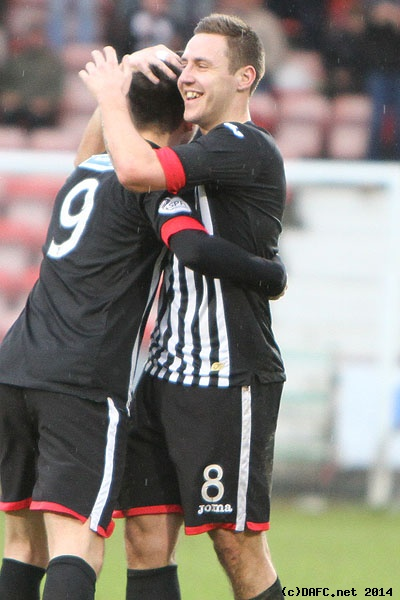(c) www.DAFC.net Photographs can be requested from photos@dafc.net  Lawrence Shankland celebrates making it 2-0 just before the break.  (ParsvAyrUnited22ndFebruary2014.080.jpg)